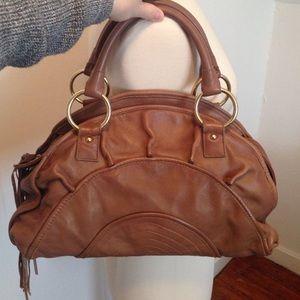 Bulga brand crescent leather handbag