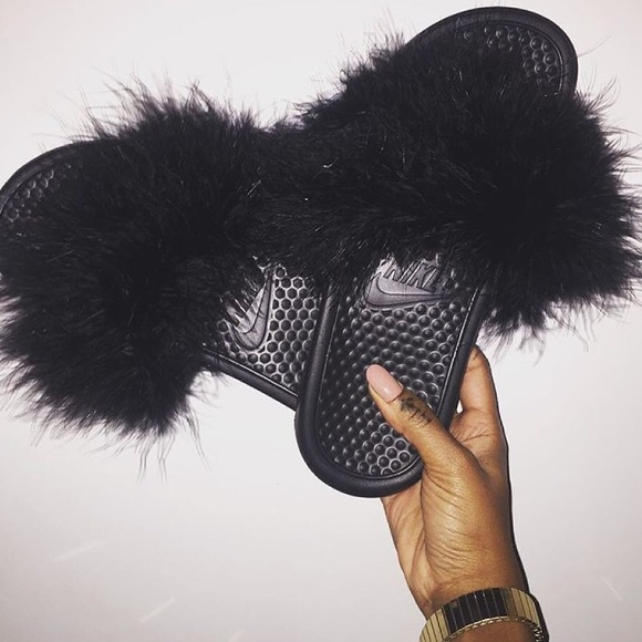 Nike Shoes Fluffy Slides Poshmark