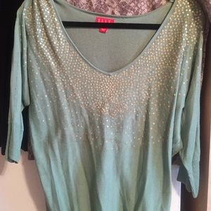 Mint green embellished sweater