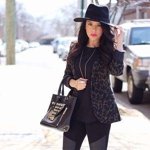 Green & Black Leopard Blazer