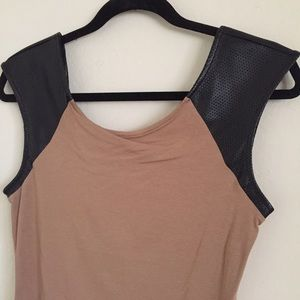 Express Leather Sleeve Scoop Tee