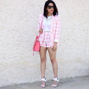 Missguided Jackets & Blazers - Pink Houndstooth Blazer