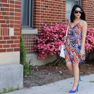 Dresses & Skirts - Blue & Orange Sleeveless Dress