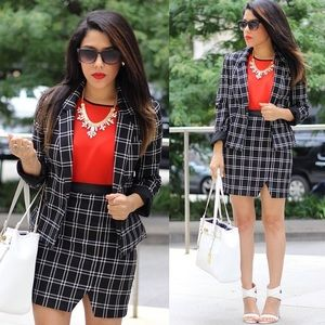 Dynamite Jackets & Blazers - Black & White Plaid Blazer