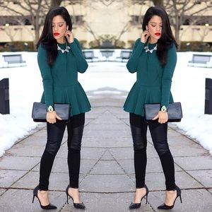 Torn by Ronny Kobo Tops - Long Sleeve Peplum Top