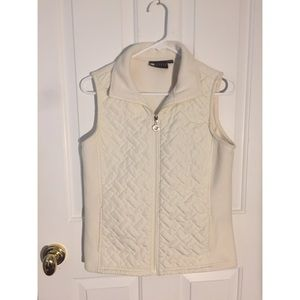 Carole Little White Quilted/Fleece Vest Size Sm