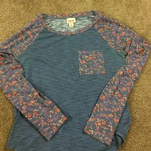 Mossimo Supply Co. Tops - Casual blue shirt with floral sleeves.