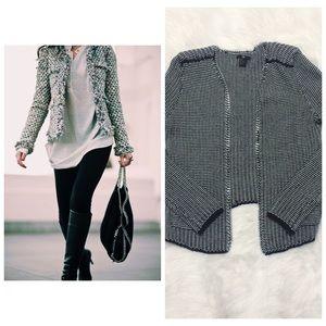 Black White Tweed Knit Open Front Jacket Blazer