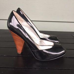 Guess black peep toe heels