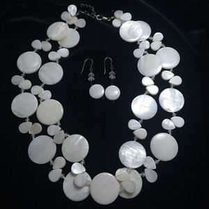 White natural stone necklace and earring set