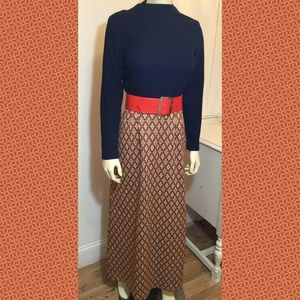 Authentic Vintage Maxi Dress Hippie 1960-1970's
