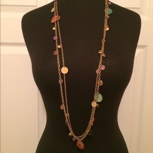 NWOT Bohemian Style Mutli-Colored Disc Necklace