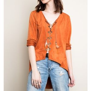 "Bare Anthology Tops - ""Sea Fever"" Faux Suede Lace Up Top"