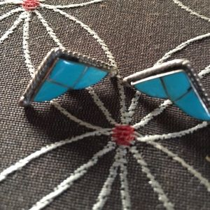 Turquoise 925 Silver Stud-Earrings.