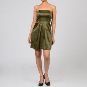 Jump girl Dresses & Skirts - Olive green strapless party dress sz 1/2 jump girl