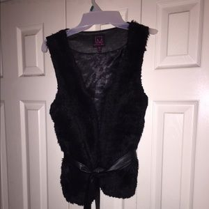 Black Furry & Leather Material Girl Vest Small
