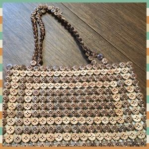 Brown button purse