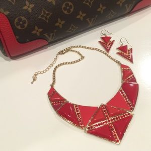 NEW Red Enamel Necklace Set