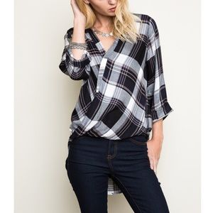 "Bare Anthology Tops - ""Idiom"" Plaid Faux Wrap Top"