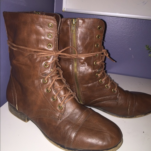 57 shoes lace up brown combat boots from maggie s