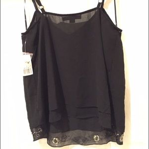 Forever 21 Tops - *swapped* Forever 21 top black sheer bead floral