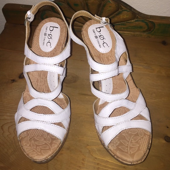 9090bbbd03 Born Shoes | Boc White Strappy Cork Wedge Sandals | Poshmark