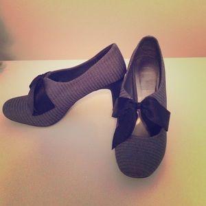 Ann Marino Shoes - Grey pinstripe heels with black silky bow