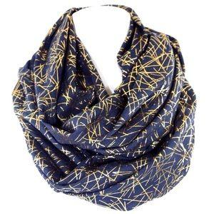 B150 Metallic Gold Foil Navy Blue Infinity Scarf