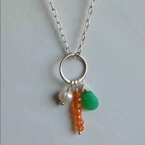 Sterling silver halo necklace - carnelian