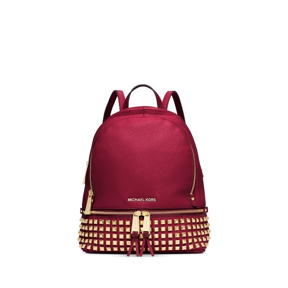 8ccec6fa19e0 Michael Kors Bags | Rhea Studded Backpack Cherry | Poshmark