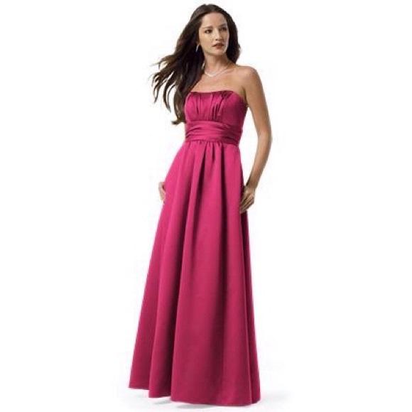 Bridal dresses bridesmaid prom pink satin dress