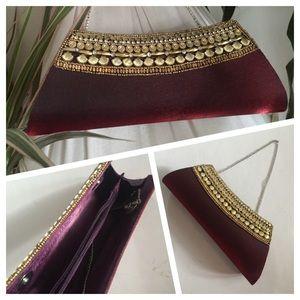 NWOT Burgundy Fabric Clutch and/or Handbag w Chain