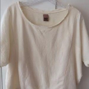 Zara Cream Short Sleeve Sweatshirt