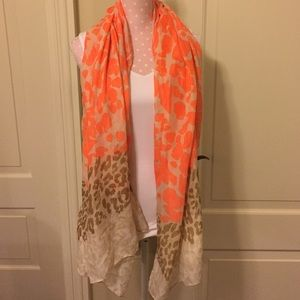 Beautiful Orange and Tan Leopard Print Scarf/Wrap