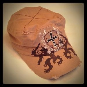 Accessories - Brown Cross Hat With Bling!