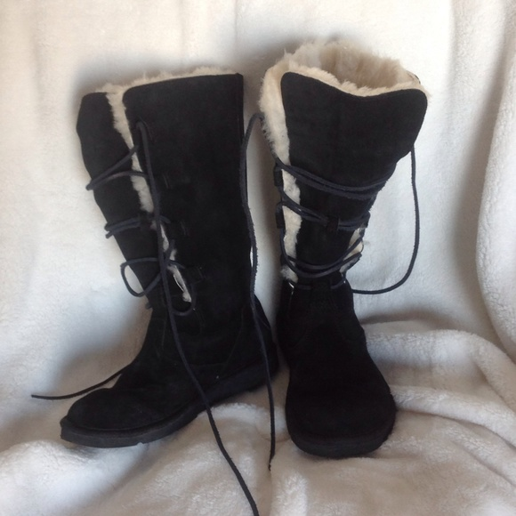 9eac3434cf0 UGG Whitley black tall lace up boots