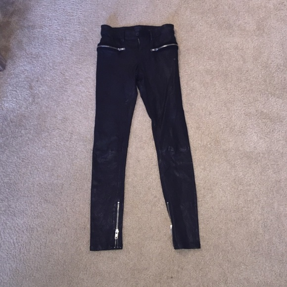 wide varieties retro newest style of RTA 100% lambskin stretch leather jeans.
