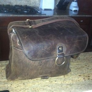 Chocolate Colored Leather Messenger Bag