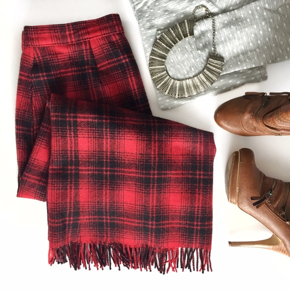 Woolrich red plaid wool fringed blanket skirt