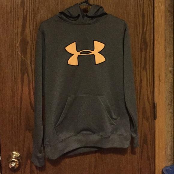 Under Armour Sweaters Grey With Peach Symbol Hoodie Poshmark