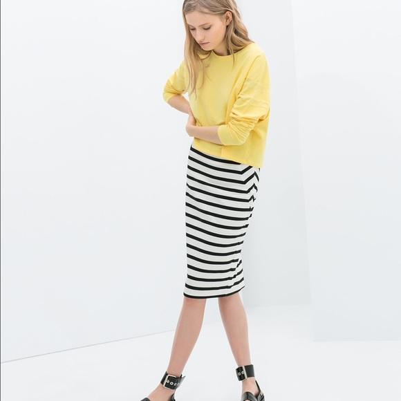 zara zara trf collection striped pencil skirt from
