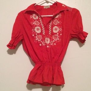 Vintage Tramo of Switzerland red embroidered top