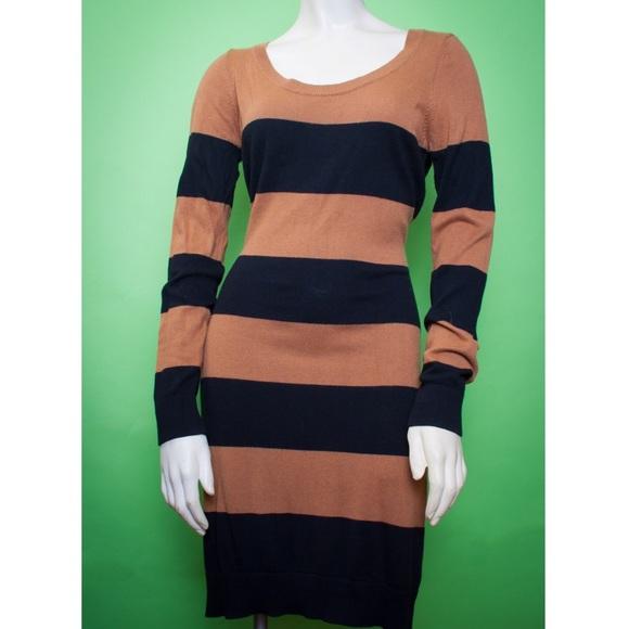 Hm Dresses H M Black Brown Stripe Mid Length Sweater Dress Poshmark