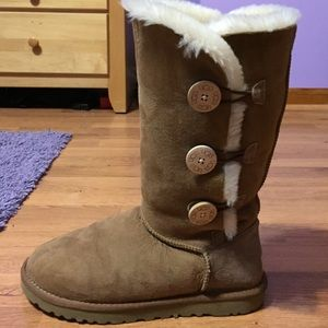 Tall Chestnut Uggs with Bailey Buttons