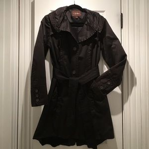 Coke Haan black trench coat size small