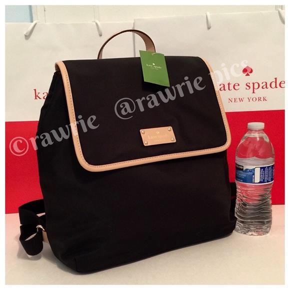 New Kate Spade Black Nylon Backpack Book Bag