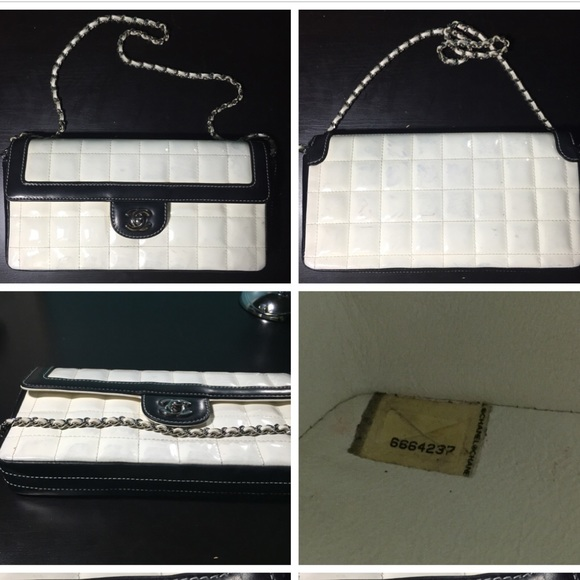 8bad92f9de51 CHANEL Handbags - Chanel Black white Chocolate Bar Patent Flap Bag