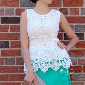 Tops - White Crochet Lace Bridal Peplum Top Blouse