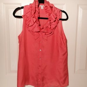 J. Crew Tops - J. Crew Silk Ruffle Tank Shell Top