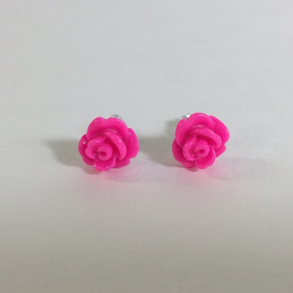 12 mm 2 pack Pink rose and floral leather stud earrings
